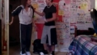 Austin Dancing the Dougie with a suprise from his mom
